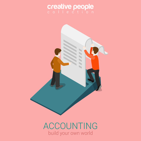 finances: Accounting business finance concept flat 3d web isometric infographic vector. Two man holding big slip fiscal check. Build your own world creative people collection. Illustration