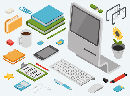 Flat 3d isometric computer technology workspace infographic concept vector icon set. All in one desktop PC, smart phone, books, folder, memory card, address book, music player, flower, wireless mouse. Illustration