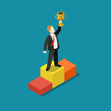 trophy winner: Business trophy rating award winner concept flat 3d web isometric infographic vector. Businessman on first place pedestal rising hand with gold cup. Creative people collection. Illustration