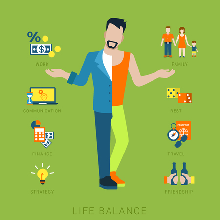 Communication strategy: Flat life balance young man abstract lifestyle concept. Stylish 2-sided divided human figure front view hands pointing to work family communication finance strategy rest leisure friendship aspects. Illustration
