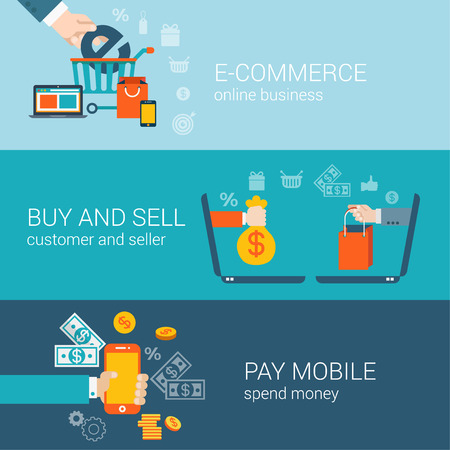 sites: Flat style mobile online e-commerce buy pay sell infographic concept. Hand put big E letter in shopping cart, laptop money bag, phone money payment web site icon banner template set for parallax.