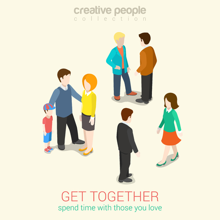meet: Meet people you love and spend leisure time flat 3d web isometric infographic concept vector. Get together groups of people: couple meets, family and friends. Creative people collection.