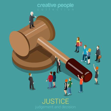 정의와 법, 판단 및 의사 결정, 법원 세션, 사법 앉아 플랫 3D 웹 아이소 메트릭 인포 그래픽 개념 벡터. 마이크로 캐주얼 사람과 망치에 판사. 창조적 인 일러스트