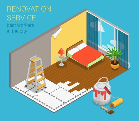 redecoration: Home renovation service business flat 3d isometric web template