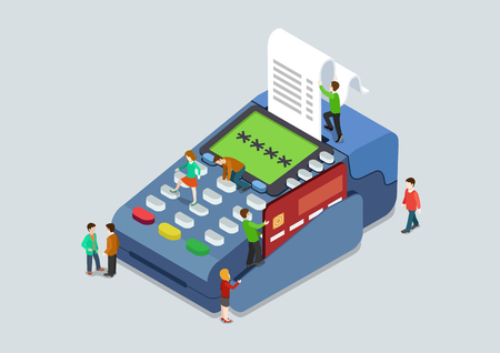 cartoon bank: Credit card pin code payment terminal concept flat 3d web isometric infographic vector. Micro people pressing buttons scanning card, sales slip cheque. Creative people collection.