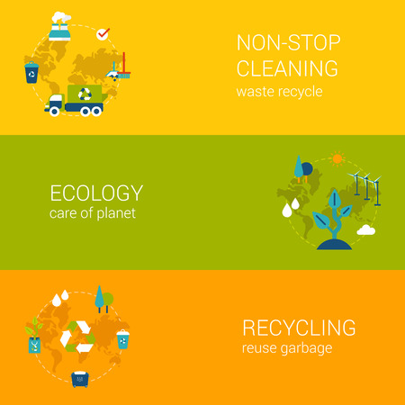 cleaning planet: Flat ecology, recycling waste, cleaning concept. Vector icon banners template set. Process of recycle garbage, save green planet. Web illustration and website infographics elements.