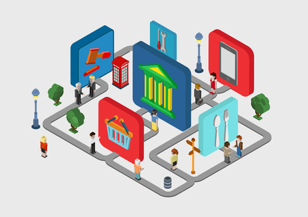Flat 3d isometric interactive city navigation icons web infographic concept vector. People on streets and bank, restaurant, court, shopping mall, electronics store, service in-place indicator icons. Çizim