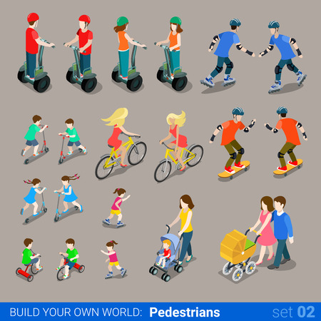 Flat 3d isometric high quality city pedestrians on wheel transport icon set. Segway skates kickboard bicycle pram skate-board scooter and riders. Build your own world web infographic collection.