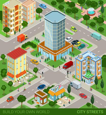 도시 블록 거리 수송 주민 개념. 현대 유행 평면 3D 아이소 메트릭 인포 그래픽. 거리 건물 자동차 밴 아이스크림 카페 레스토랑 비즈니스 센터 공원. 창 일러스트