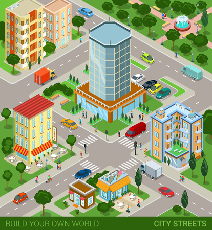 city building: City block streets transport inhabitants concept. Modern trendy flat 3d isometric infographic. Street buildings cars vans ice cream cafe restaurant business centre park. Creative people collection.