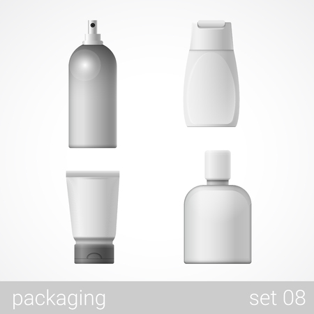 plastic box: Cosmetic plastic container tube bottle package set. Blank white packaging objects isolated on white vector illustration. Illustration