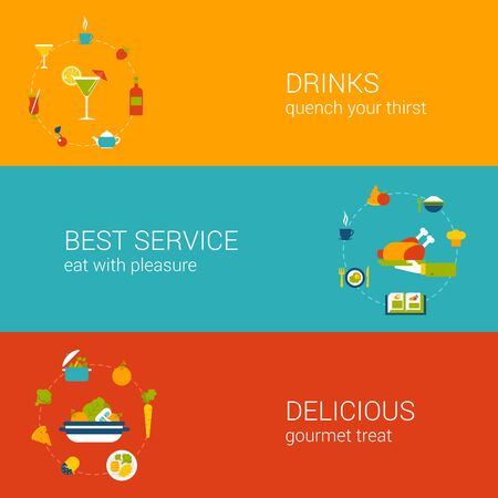 Flat drink and meal time concept. Vector icon banners template set. Drinks, cocktail, wine, best and perfect restaurant service, delicious gourmet treat and taste. Web illustration and infographics.
