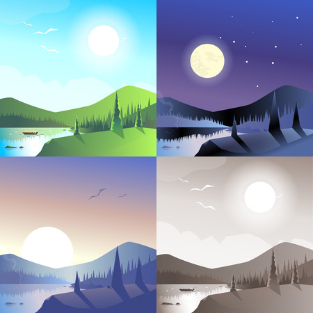 lake sunset: Flat landscape hilly mountains wild forest lake boat scene set. Stylish web banner nature outdoor collection. Daylight, night moonlight, sunset view, retro vintage picture sepia. Illustration