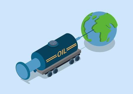 tank car: Oli addiction world flat 3d web isometric infographic concept vector. Railroad petroleum tank car as syringe needle stick world globe. Global petrol addicted countries.
