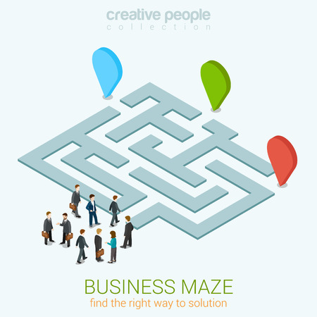 Business maze puzzle flat 3d web isometric infographic concept vector template. Find your way to solution. Group pf businessmen near entrance. Creative people collection.