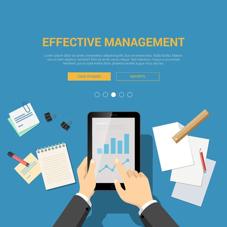 studies: Flat design mockup template for effective management