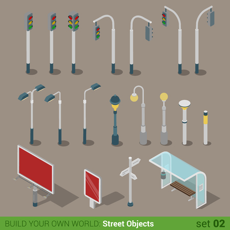 Flat 3d isometric high quality city street urban objects icon set. Traffic light street lights big board citylight bus transport stop road signboard. Build your own world web infographic collection. Ilustração