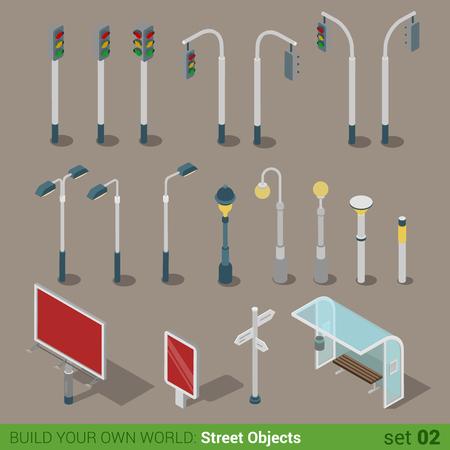 parada de autobus: Objetos urbanos isométrica calle de la ciudad de alta calidad 3d planas conjunto de iconos. Tráfico luces de la calle la luz en gran tablero citylight carretera parada de transporte de autobús letrero. Construye tu propia colección infografía mundo web.