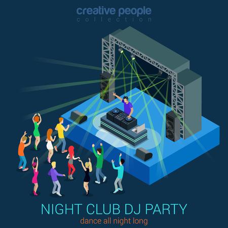 persone che ballano: Discoteca di ballo DJ party piana Web 3d isometrico concetto infografica template vettoriale. Prestazioni concetto di musica elettronica Dee-Jay set. Gruppo di giovani uomini, ragazze, ballo scena. Collezione persone creative.