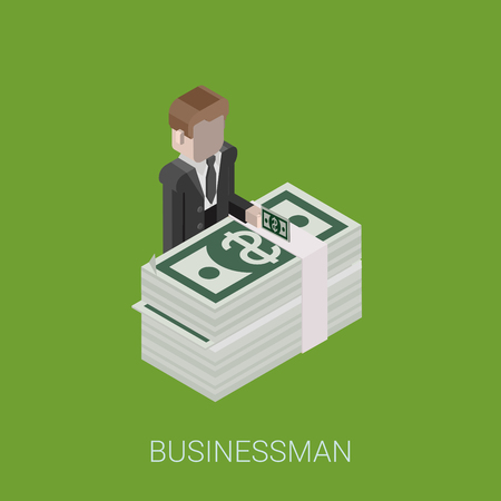riches: Flat 3d isometric abstract billionaire, investor, rich man, millionaire, capitalist web concept vector icon. Businessman giving money standing at big stack of dollar banknotes. Illustration