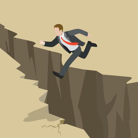 비즈니스 문제 문제 극복 장애물 위기 위험 개념 플랫 3D 웹 아이소 메트릭 인포 그래픽 벡터를 피하십시오. 접지 균열 균열을 통해 사업가 점프. 창의 일러스트