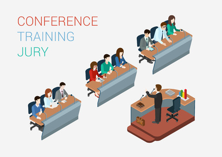 teacher in class: Business training education court jury concept flat 3d web isometric infographic vector. People in auditory listening to lecture teacher. Creative people collection.