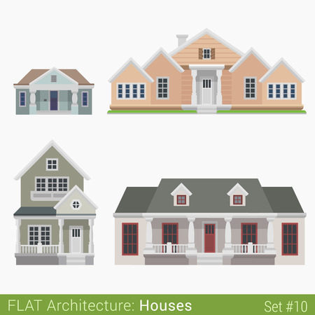 municipal: Flat style modern buildings countryside suburb townhouse church government municipal houses set. City design elements. Stylish design architecture real estate property collection.