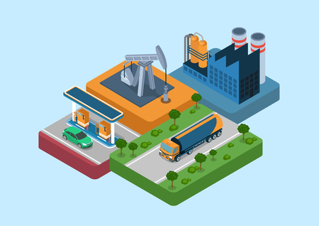tank car: Oil production process cycle flat 3d web isometric infographic concept vector. Oil extraction derrick, refinery, logistics delivery by tank car tanker, gas petrol refill station retail gasoline sale.