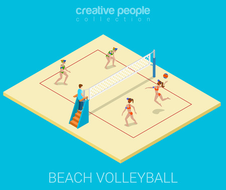 voleibol: Beach campo de voleibol partido del equipo juego deporte estilo de vida moderno plana 3d web isométrica vectorial infografía. Grupo de mujeres el ejercicio de entrenamiento deportivo alegre joven. Personas colección deportistas Creative.
