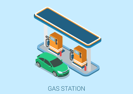 gas station: Gas petroleum petrol refill station flat 3d web isometric infographic concept vector. Petroleum collection.