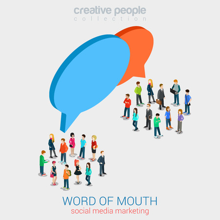 word of mouth: Social marketing word of mouth gossip flat 3d web isometric infographic internet online technology concept vector template. Groups of micro people and chat callout signs. Creative people collection.