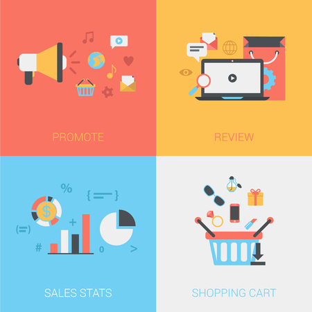 promote: Promote store, review goods, sales stats, online shopping cart concept. Vector icon banners template set. Loudspeaker, social media, laptop, bag. Web illustration. Website infographics elements.