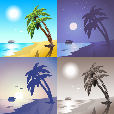 sunset beach: Flat landscape sea cruise ship palm beach summer tropic island travel scene set. Stylish web banner nature outdoor collection. Daylight, night moonlight, sunset view, retro vintage picture sepia. Illustration