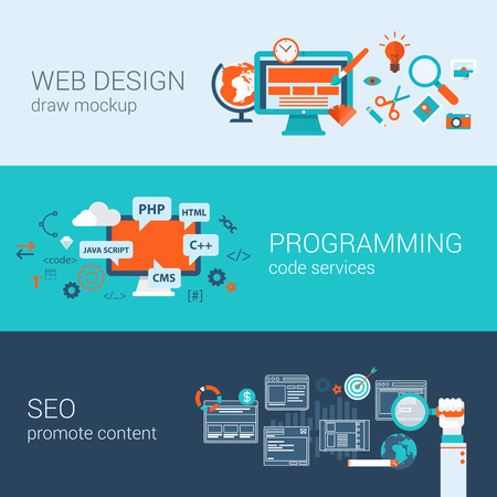 Web design programming SEO concept flat web banners template set vector illustration website infographics elements. Process webdesign mockup program code php html javascript cms search optimization. Illustration