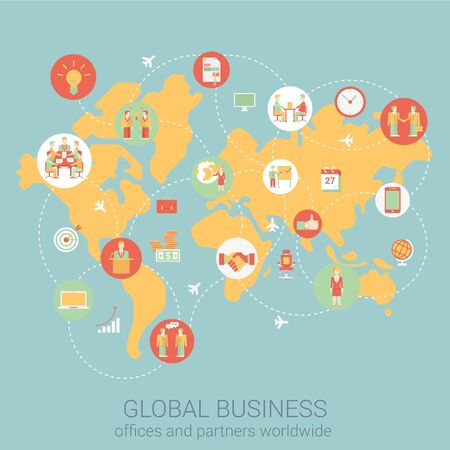Global business worldwide flat style design vector illustration world map people partnership link connections staff office corporate concept. Collage of infographics. Big flat conceptual collection.