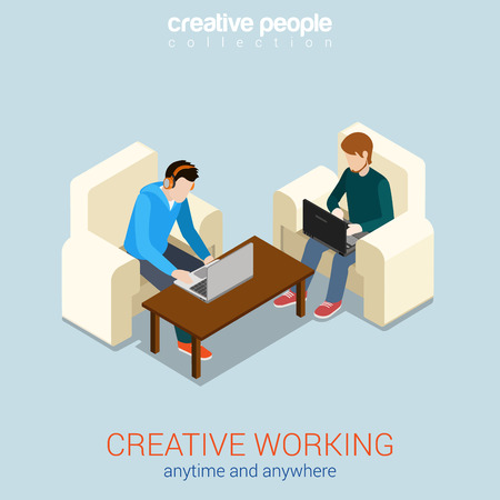 freelance: Creative work process anytime anywhere freelance flat 3d web isometric infographic concept vector. Two young men on chairs working on laptops. Modern office workplace concept.