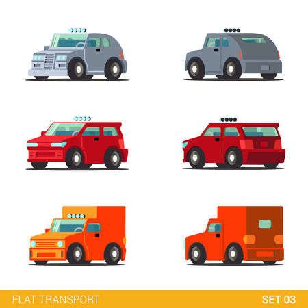 hatchback: Flat 3d isometric funny road transport icon set. Van hatchback truck delivery car. Build your own world web infographic collection.