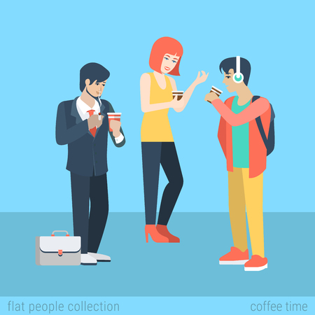 smokers: Flat people lifestyle situation coffee smoking cigarette time concept. Two young beautiful boys and girl coffee break. Vector illustration collection of young creative humans. Illustration