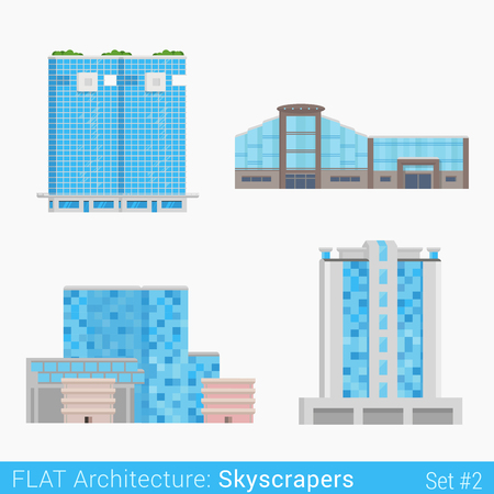 commercials: Flat style modern buildings trade business center mall hotel skyscrapers set. City design elements. Stylish design architecture collection.