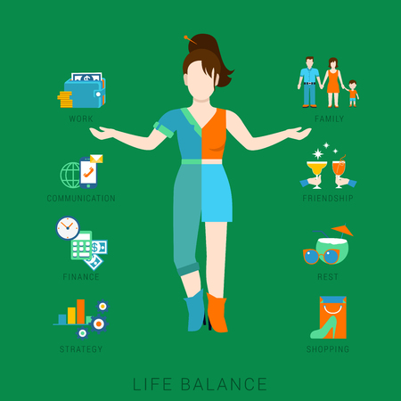 multitasking: Flat life balance young woman abstract lifestyle concept. Stylish 2-sided divided human figure front view hands pointing to work family communication finance strategy rest leisure friendship aspects. Illustration