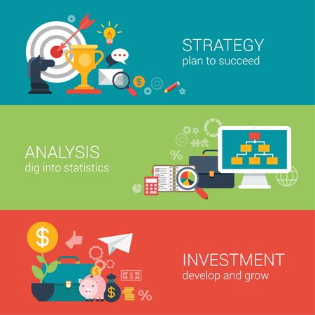 Flat style business success strategy target aim, finance analysis, growth investment infographic concept. Trophy horse pie chart briefcase computer piggy bank money web site icon banner template set.