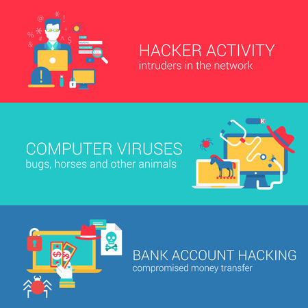 intrude: Hacker internet computer security technology concept flat icons banners template set hack crack activity viruses malware trojan horses bank vector web illustration website click infographics elements. Illustration