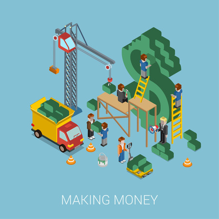 Flat 3d isometric making money web infographic concept vector. Crane and people making big $ USD dollar sign. People constructing manager boss foreman pallet. Business, commerce, money-making concept. Illustration
