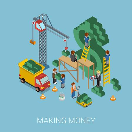 Vlakke 3d isometrische making money web infographic begrip vector. Kraan en mensen die grote $ USD dollarteken. Mensen construeren manager baas voorman pallet. Zaken, handel, money-making concept. Stock Illustratie