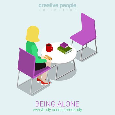 soledad: Soledad plana 3d web isométrica vectorial concepto de infografía. Estar solo - todo el mundo necesita a alguien. Sola mujer sentada junto a la mesa antes de la silla vacía. Colección de la gente creativa. Vectores