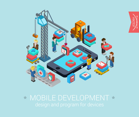 pixel art: Flat mobile development 3d isometric modern design concept vector icons composition set. Touch screen smart phone and mobile app programming. Flat web illustration infographics elements collection.