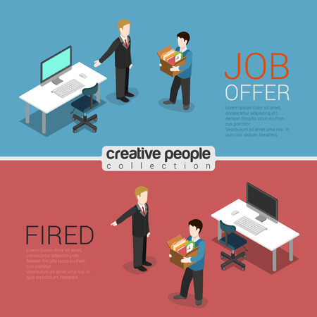 hr: HR job offer and fired dismissal flat 3d isometric modern trendy stylish concept vector illustration. Boss welcome newbie pointing new workplace, showing way dismissed out. HR conceptual collection.
