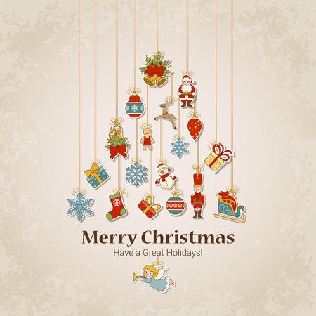 Decoratieve voorwerpen in dennenboom silhouet. Vrolijk Kerstfeest en Gelukkig Nieuwjaar stickeretiket decoraties moderne stijl vector briefkaartsjabloon. Stijlvolle begrip iconen set van Kerstmis en wintervakanties. Stock Illustratie