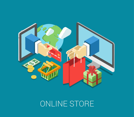 Flat 3d isometric online store e-commerce web infographic concept vector. Internet sale shopping cart, payment, checkout, gift box. Hand hold credit card stick from tablet, paper bag from computer.