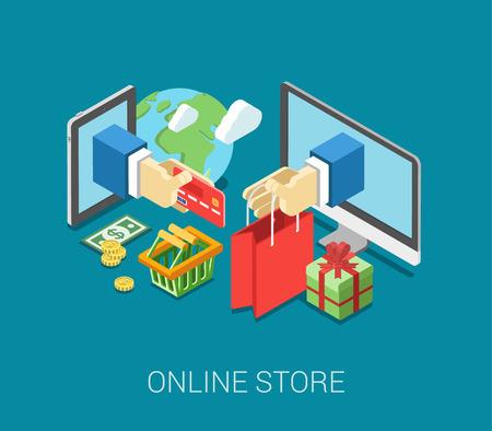 niños de compras: Piso 3d isométrica tienda en línea de comercio electrónico web concepto infografía vector. Venta de Internet carrito de compras, pago, pago y envío, caja de regalo. Asimiento de la mano palo de tarjeta de crédito de la tableta, bolsa de papel del equipo. Vectores